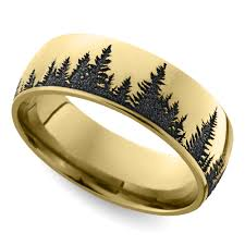 mens wedding rings gold laser carved forest pattern s wedding ring in yellow gold