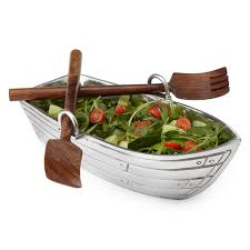 unique serving platters row boat serving bowl with wood serving utensils salad bowls