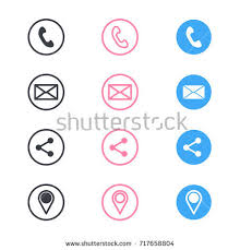 Telephone Icon For Business Card Vector Business Card Contact Information Icons Stock Vector