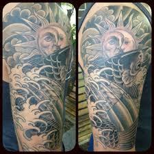 koi fish half sleeve dennis hickman tattooer