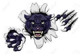 a black panther cartoon sports mascot ripping through a wall