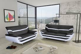 canap en l canapé fixe design 2 places en pu noir blanc adelice canapé fixe