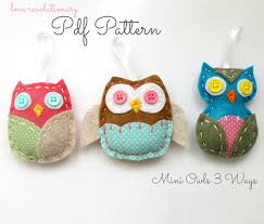 pdf pattern felt owl softie ornaments mini 3 ways brooch pin diy