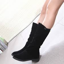 womens boots low heel fashion flocking low heel s mid calf boot shoes