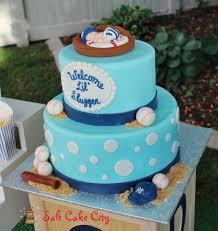 baseball themed baby shower cake baby blue yankees baby shower