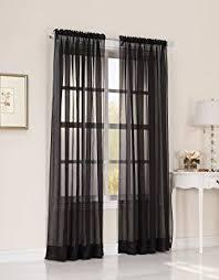 Black Sheer Curtains Mysky Home Back Tab And Rod Pocket Window Crushed