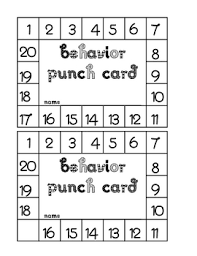 Bathroom Pass Punch Card This Is A Behavior Punch Card That Is Used To Reward Positive