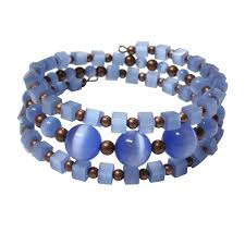 beads wire bracelet images Blue fiber optic bracelet 6 to 7 inch wrist size memory wire jpg