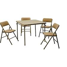 cosco products 5 piece folding table and chair set black folding tables costco amazon com