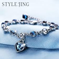 blue diamond bracelet images Austrian crystal full diamond bracelet silver plated birthstone jpg