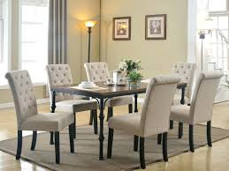 tufted leather dining room chairs sets white linen sale grey