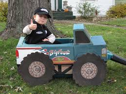 we made this grave digger monster truck costume with cardboard
