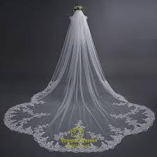 bridal veil one tier lace applique edge cathedral length bridal veil
