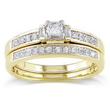 overstock wedding ring sets miadora 14k yellow gold 1 3ct tdw diamond bridal ring set g h i1