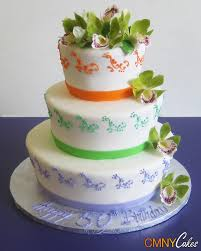wedding cake lavender orange green and lavender wedding cake with green orchids cmny cakes