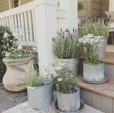 Galvanized Containers For Gardening Little Farmstead Farmhouse Porch Ideas