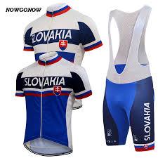 Slovak Flag 2017 Men Cycling Jersey Set White Blue Slovakia Flag National
