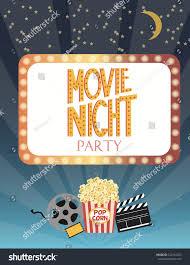 night movie party invitation card birthday stock vector 522144523