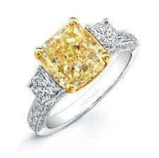 fancy yellow diamond engagement rings 18k white and yellow gold cushion fancy yellow diamond engagement ring