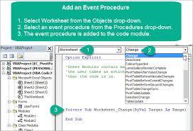 vba code modules u0026 event procedures for sheet u0026 thisworkbook