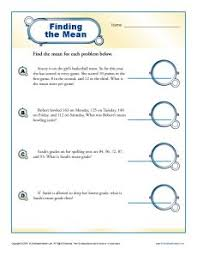 mean median mode worksheets finding the mean