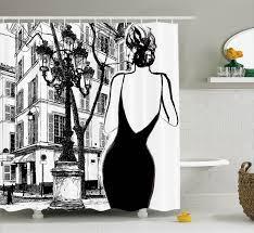 Paris Fabric Shower Curtain by Paris City Decor Young Elegant Woman In A Black Dress In Paris