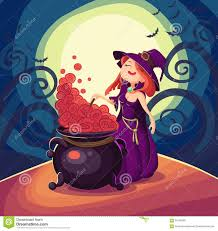 witches cauldron for halloween cards vector clip art illustrati