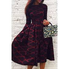 Round Neck Printed Long Sleeve A Line Dress Deep Red M Ball