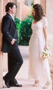 backyard wedding dresses lace wedding dress with embroidered tulle cap sleeves and empire