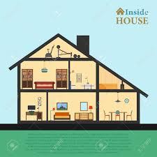 Home Inside by House Inside Detailed Modern House Interior In Cut Flat Style