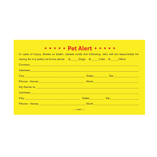 pet emergency cards for pet owners pets at home petsittershop