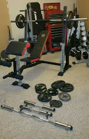 gold u0027s gym xr5 with 45lbs olympic bar weight for sale in