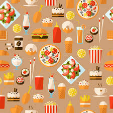 seamless pattern food seamless pattern with fast food and drink stock vector