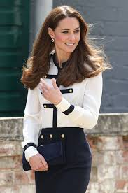 duchess kate military style white and navy ensemble by alexander