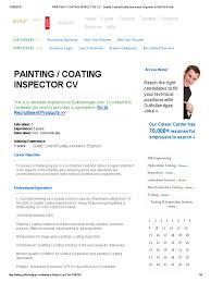 Quality Inspector Resume Painting Coating Inspector Cv Quality Control Quality