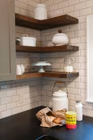 White Tile Backsplash Kitchen Best 10 Floating Shelves Kitchen Ideas On Pinterest Open