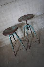 Industrial Adjustable Bar Stools French Vintage Industrial Adjustable Stools 1950s Set Of 2 For