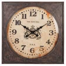 Grande Horloge Murale Carrée En Bois Vintage Achat Murale Carré Style Vintage Grand Diamètre 80x8x80cm En Métal Et Bois