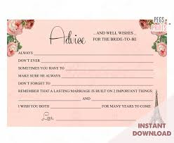 Advice To Bride And Groom Cards Paris Advice Cards For Bridal Shower Instant Download Advice