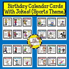 birthday calendar cards with jokes sports theme by bloomabilities