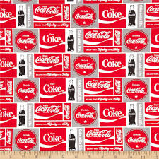 licensed from coca cola this cotton print fabric is perfect for