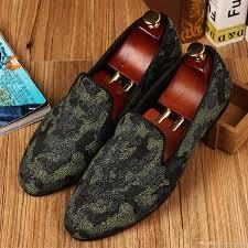 harpelunde camoflauge printing men loafer shoes red bottom dress