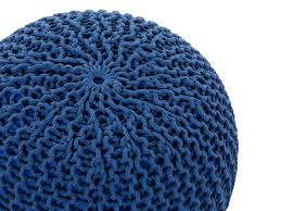 footstool ottoman floor cushion knitted pouf blue girlflet