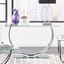glass top sofa table amazon com coaster glass top console table in chrome kitchen inside