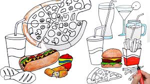 draw color paint fast food juice burger pizza coloring pages and