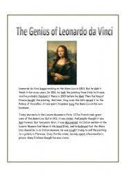 leonardo da vinci biography for elementary students english teaching worksheets leonardo da vinci
