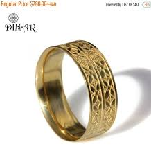 solid gold band deco solid gold wedding band 14k yellow gold women wedding