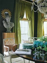 Green And Blue Curtains Green Curtains Transitional Dining Room Douglass