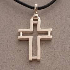 men s religious jewelry men s cross necklace sterling silver cross on leather cord for men