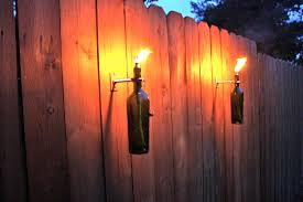 Patio Latern 3 Green Wine Bottle Tiki Torches Outdoor Christmas Gift